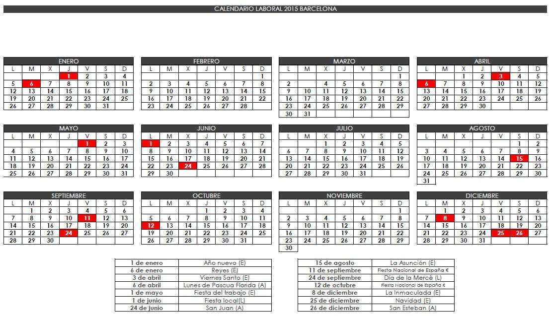 Calendario Del Barcelona.Calendario Laboral Barcelona 2015 Gatefi S L